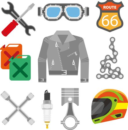 spare: Motor racer accessories and motorcycle car spare parts vector icons