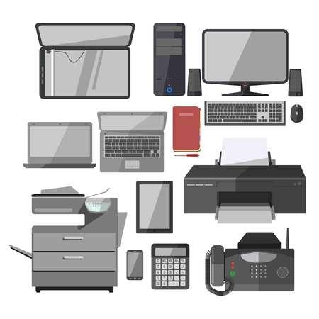 Büroarbeit Ausrüstung Geräte isoliert Vektor-Icons Set