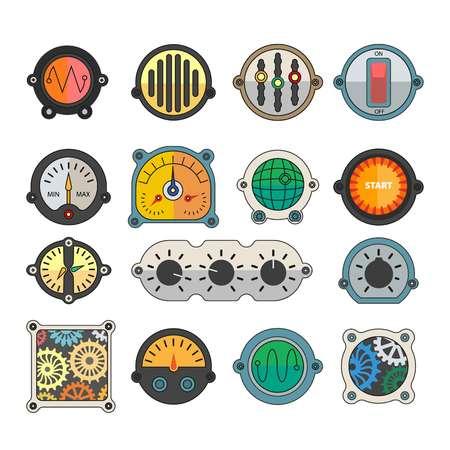 selector: Robots transformers indicator toggles parts retro cartoon flat icons