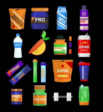 gainer: Sport supplements and fitness nutrition vector flat icons Illustration