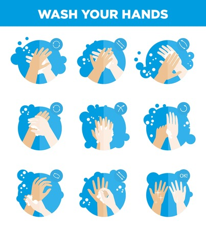 Hands washing icons for vector hygiene infographics template Stock Photo