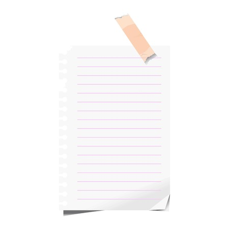 shadow: Blank sheet lined paper of notepad sticky memo note vector