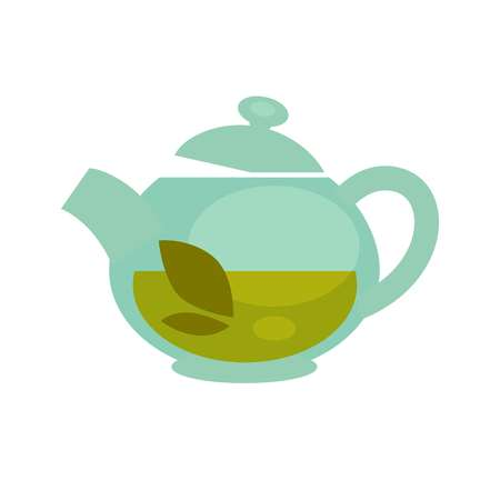Glass teapot with brewed green tea leaf vector flat icon