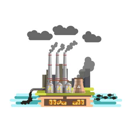 carbon emission: Environment and nature industrial factory carbon waste pollution vector Stock Photo