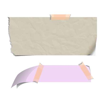 calendar icon: Blank paper sheets torn on adhesive sticky notes isolated vector