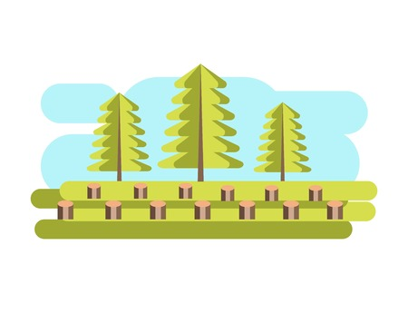 environmental issues: Environment and nature pollution industrial deforestation problem vector
