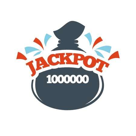 sports winner: Bingo lotto lottery logo template. Jackpot money bag prize vector isolated icon Illustration