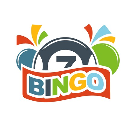 Bingo lotto lottery logo template. Winner lucky numbers on balls. Vector isolated icon and ribbon