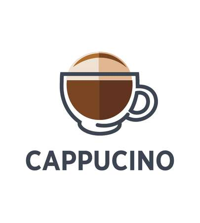 Coffee cappuccino logo for cafe or cafeteria takeaway icon template.