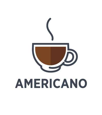 Coffee americano logo for cafe or cafeteria icon template. Illustration