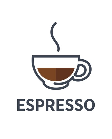 espresso cup: Coffee espresso logo for cafe or cafeteria icon template.