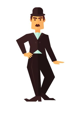 Cinema or movie actor comic man or comedian character flat icon for cinema design element Illustration