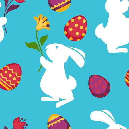 Easter paschal eggs and bunny seamless pattern vector background Illustration
