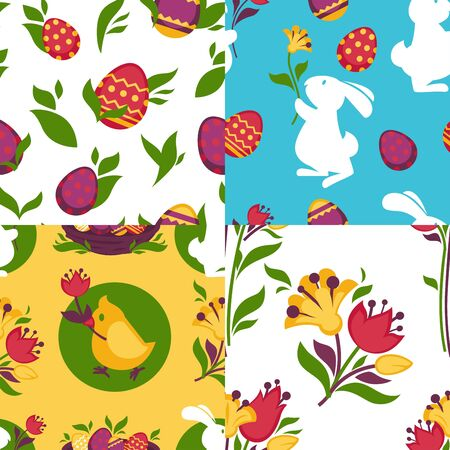 vector pattern: Easter pattern paschal eggs, bunny seamless vector backgrounds set