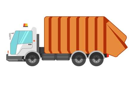 utilize: Garbage removal dustcart truck icon. Litter dust cart or waste cleaner machine vector isolated flat icon