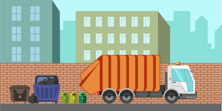 dirty car: Garbage removal municipal service machine or equipment. Dustcart or litter dust cart.