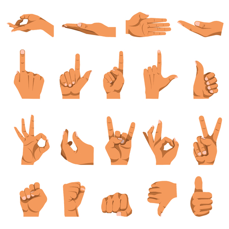 Hand gestures and finger different signs. Vector flat isolated icons set on white.