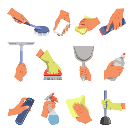 Hands holding domestic cleaning tools. Vector flat icons of floor cloth or duster rag.