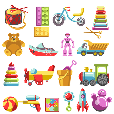 playthings: Kid toys vector icons. Children playthings set for kindergarten girls and boys. Flat teddy bear, pyramid and bicycle, rocket, ball and train