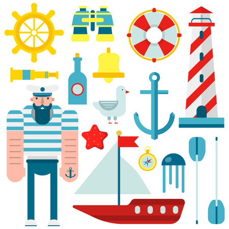 flag: Marine and nautical vector flat icons. Isolated symbols of sailor captain ship, sailboat anchor and helm, lighthouse and lifebuoy, seafarer spyglass and binoculars