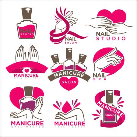 Maniküre Salon und Nägel Pflege Studio Vektor-Logo Vorlagen gesetzt. Symbole der Frau Hände und rosa oder rote Nagellack Vial Flasche Trend Standard-Bild - 73910316