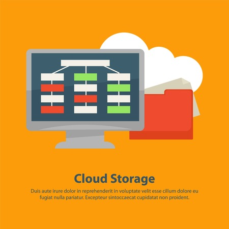 website: Cloud storage poster of online internet files storage. Vector flat design of computer monitor and file explorer or folder