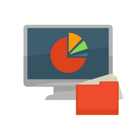 statistics icon: Computer and file folder vector flat icon. Vector computer monitor with diagram graph of percent share data statistics for infographics template