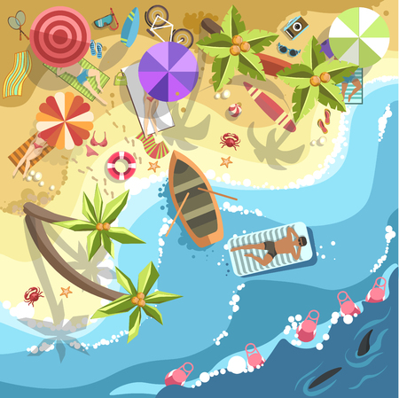 poolside: Relax on sea beach vector people on resort vacation holidays. Illustration