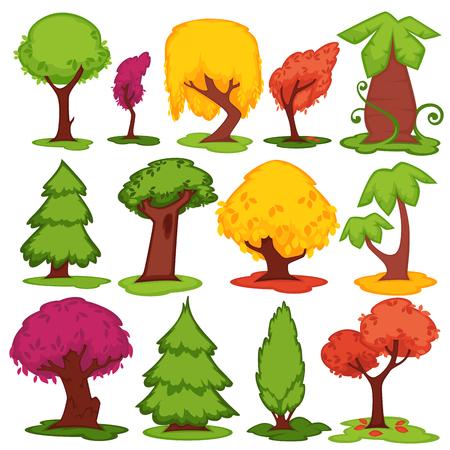 Trees flat vector icons coniferous, deciduous cartoon set