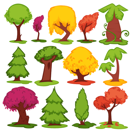tree isolated: Trees flat vector icons coniferous, deciduous cartoon set