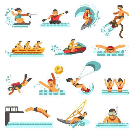 Water sport zomer activiteiten vector platte pictogrammen set