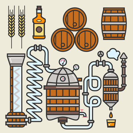 distillery: Whiskey production line or whisky making elements vector icons