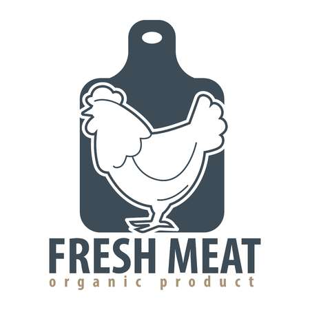 Fresh meat concept with logo sign of cutting board