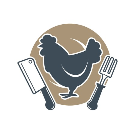 Fresh and organic meat product concept with logo of rooster Illustration