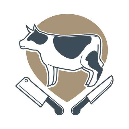 Butchery logotype sign with cow and two meat knives