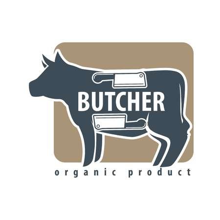 animal silhouette: Butchery logotype sign with cow and two meat knives