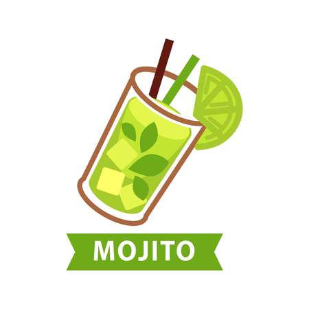 Mojito green cocktail in glass with lime slice