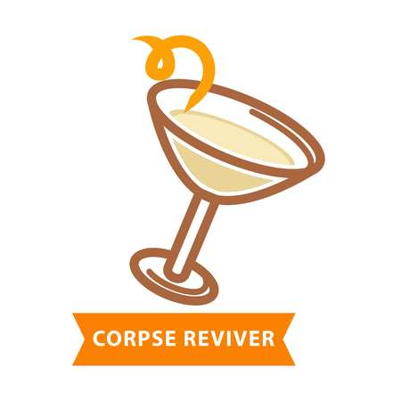 Corpse reviver cocktail with bend straw isolated on white Illustration