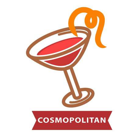 Cocktail Cosmopolitan of contemporary classics decorated with orange peel