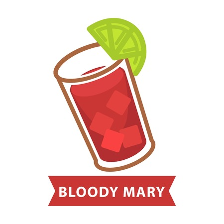 highball: Bloody Mary with ice and slice of lime in glass Illustration