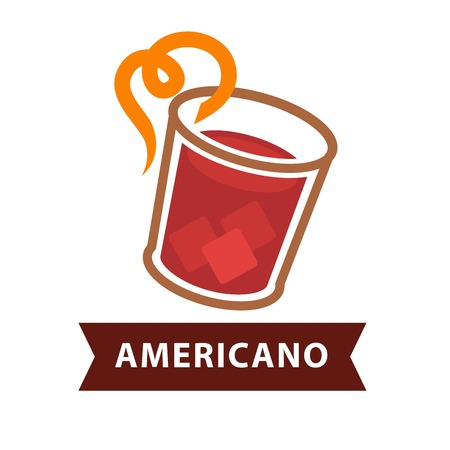 Americano cocktail in glass with straw isolated on white Illustration