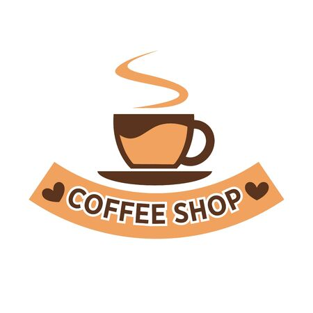 hot: Coffee shop colorful flat logotype isolated on white