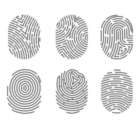 dactylogram: Set of fingerprint types with twisted lines signs isolated vector