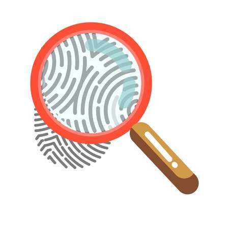 Fingerprint with magnifying glass isolated on white. Human print