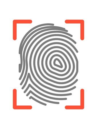 dactylogram: Fingerprint sign isolated on white flat vector illustration Illustration