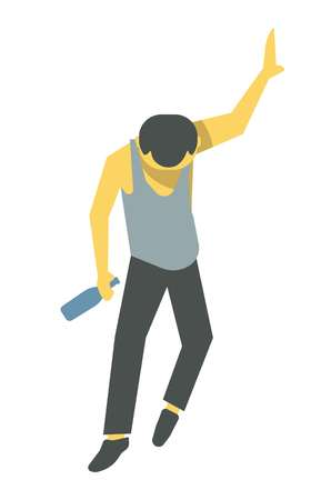 Drunk person vector illustration. Barely standing male cartoon character