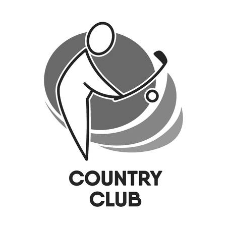 country: Golf country club logo colorless template on white