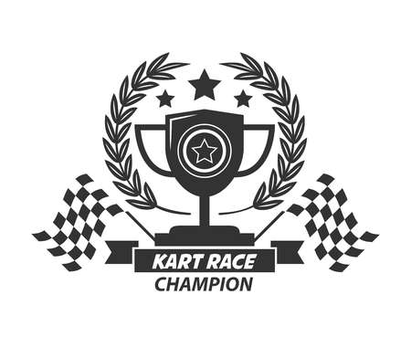 f1: Karting logo champion cup, laurel wreath, stars and flags