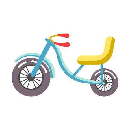 ruder: Blau Kinder Fahrrad mit gelbem Sitz isoliert auf weiß.