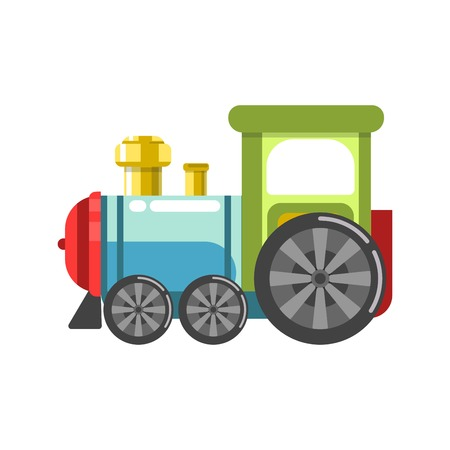 A Small plastic steam train with colorful parts isolated on white.